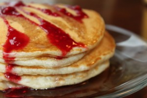 Sourdough Pancakes with Raspberry Jam & Syrup