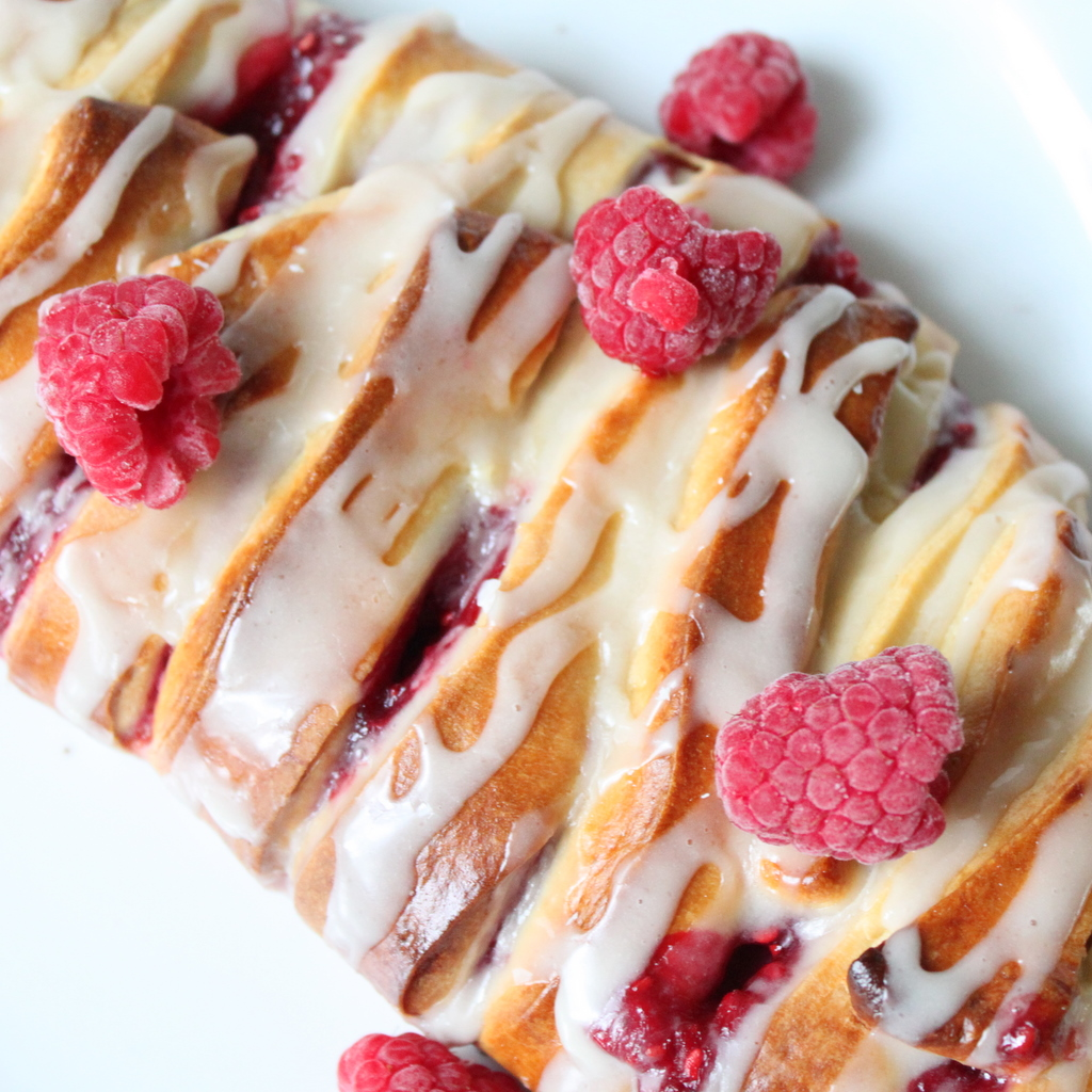 Raspberry Pastry Braid with Powdered Sugar Glaze