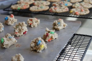 Making Oatmeal M&M Cookies