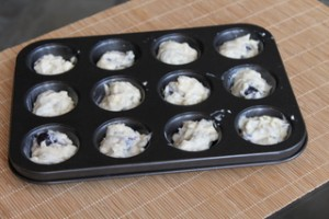 Baking Mini Blueberry Muffins