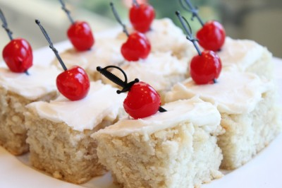 Cherry & Sword-Speared Cake Squares