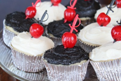 Cherry & Sword-Speared Cupcakes