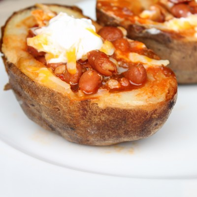 Chili in Baked Potato Bowls