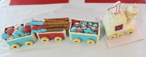 Chocolate-Dipped Pretzels in a Train Cake