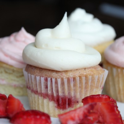 Strawberry Shortcake Cupcakes - Strawberry Pound Cake with Vanilla Buttercream Frosting