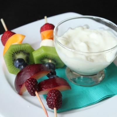 Rainbow Fruit Skewers with Vanilla Bean Yogurt