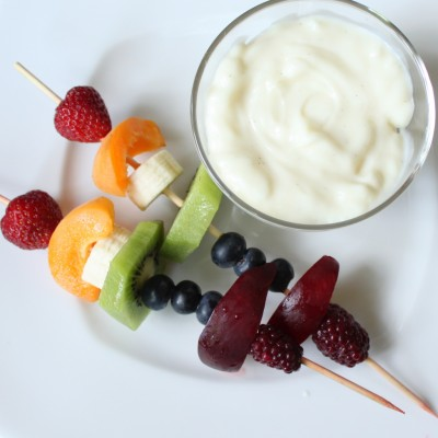 Rainbow Fruit Skewers with Vanilla Bean Yogurt