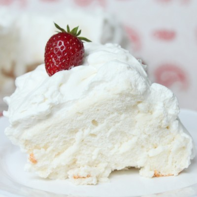 Angel Food Cake with Fluffy Whipped Cream Frosting