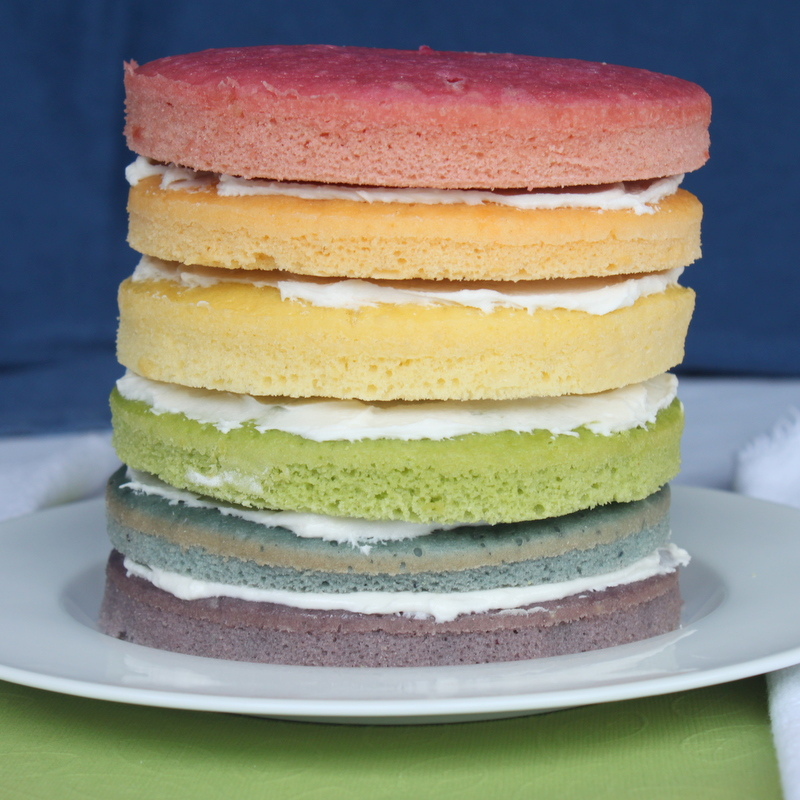 Rainbow Cake with Natural Dyes for the DailyBuzz Moms 9x9