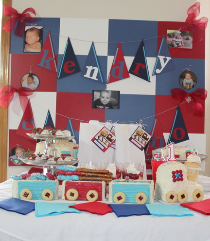 Train 1st Birthday Party Dessert Table