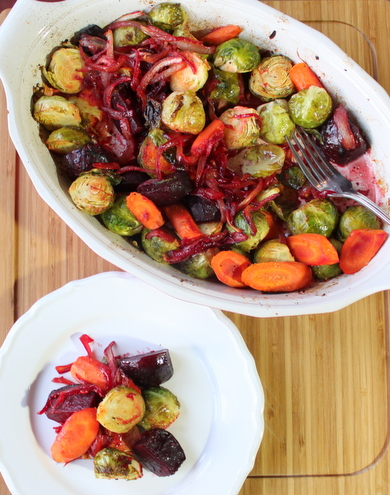 Roasted Brussel Sprouts, Beets & Carrots