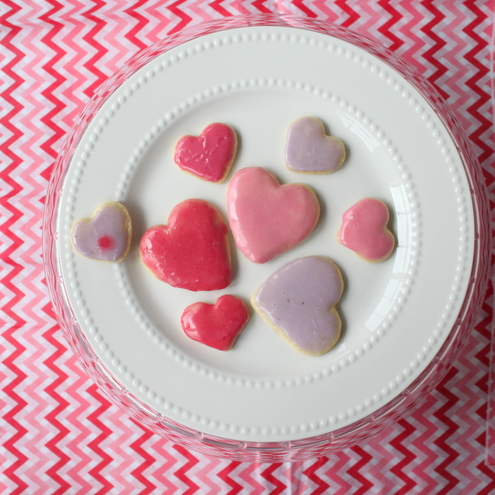 Heart Sugar Cookies with Naturally-Dyed Icing