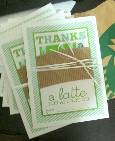 """Thanks a Latte"" Starbucks Gift Card"