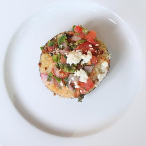 Eggplant-Salsa Fresca Bruschetta
