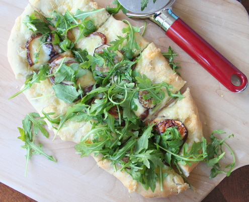 Three Cheese Flat Bread with Figs, Caramelized Onion and Arugula