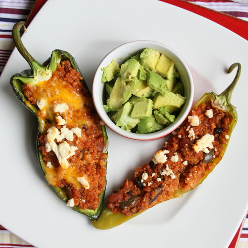 Quinoa Chili-Stuffed Peppers