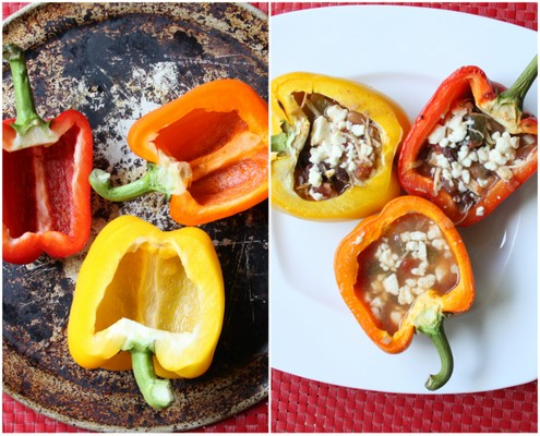 Crockpot Tortilla Soup-Stuffed Bell Peppers