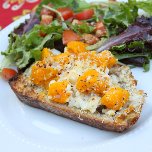 Three Cheese Squash Crostini