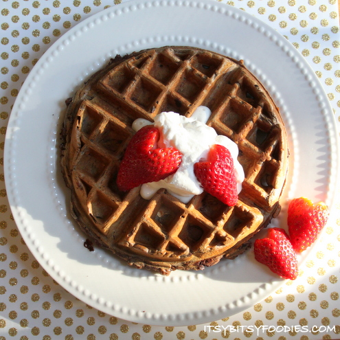 Chocolate Oatmeal Waffles with Strawberry Hearts