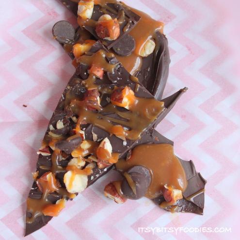 Salted Caramel Chocolate Ganache Hazelnut Bark