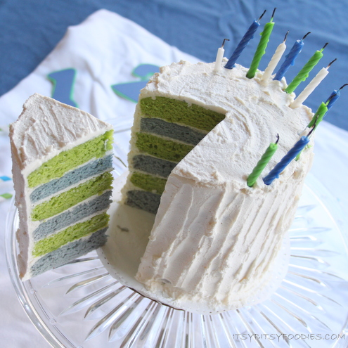 Blue and Green Layer Cake with Natural Dyes
