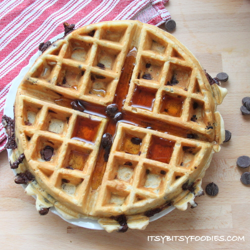 Chocolate Chip Banana Oatmeal Waffles