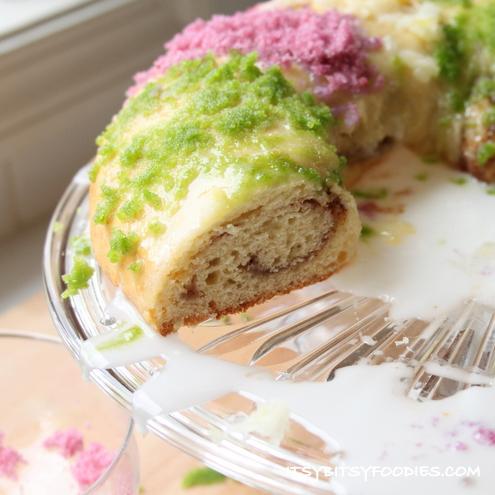 Naturally-Dyed Mardi Gras King Cake