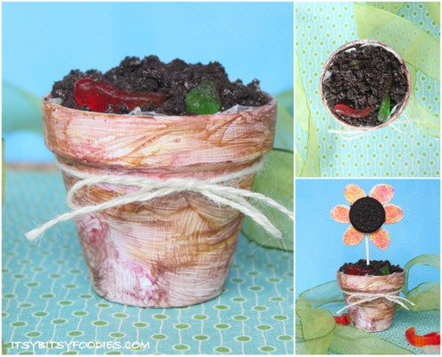 Edible Garden Treat: Oreo Dirt, Gummi Worms and Flower Pops