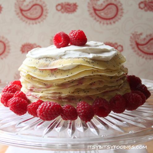 Almond Poppyseed Crêpe Cake