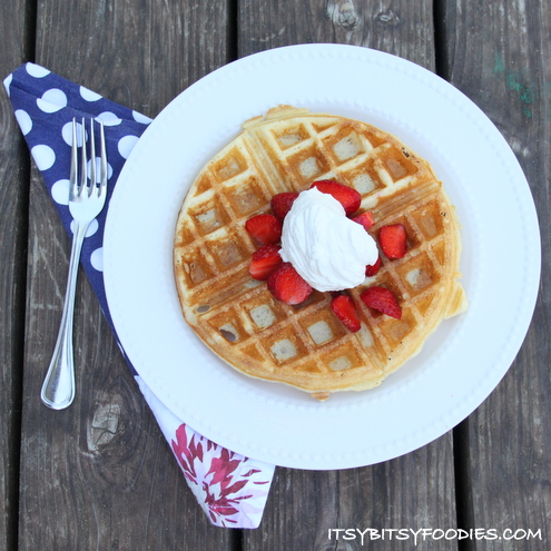 Strawberries and Cream Belgian Waffles