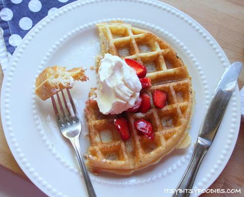 Strawberries and Cream Belgian Waffles