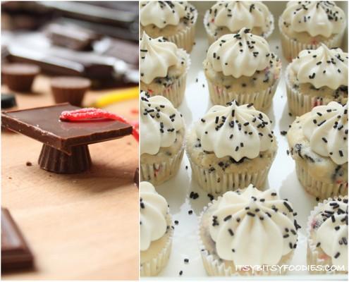 Funfetti Graduation Cap Cupcakes